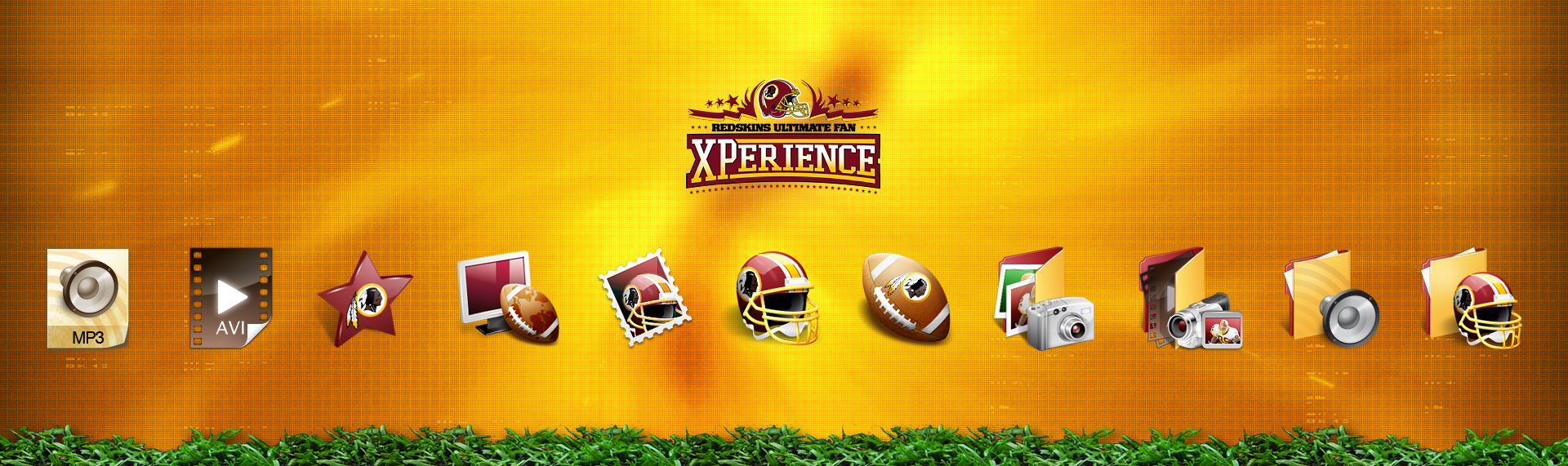 Alienware: Redskins Ultimate Fan Xperience Windows Desktop Icon Set  Client: Alienware Corporation + Washington Redskins  The Redskins Ultimate Fan XPerience exclusive desktop theme includes customized icons and wallpapers to go along with a media player transformed into a 'technology enhanced' football. The Window theme transforms your ordinary Windows XP into a Redskins fan's delight. Available only when you purchased the Washington Redskins Ultimate Fan XPerience PC. Copyright. Alienware Corporation. Copyright. Washington Redskins.
