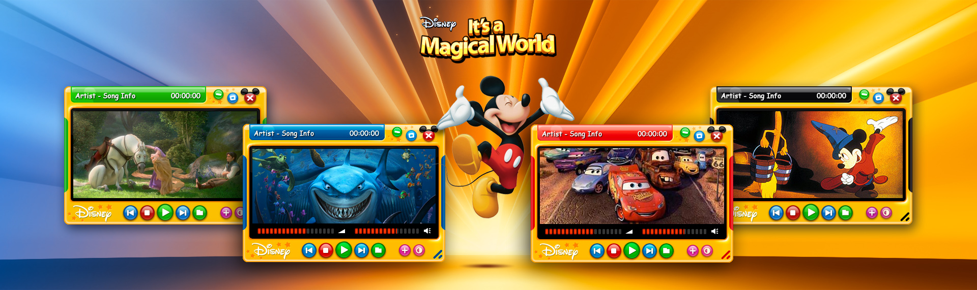 Disney;s It's a Magical World  Client: The Walt Disney Company  The official Disney six color, magical Windows Media Player. Part of the Hyperdesk Windows desktop theme - Disneys It's a Magical World. Our design team captured the magic of Disney, injecting fun, vibrant colors and enchanting graphics into the Windows Media Player skin that delighted children and parents worldwide. The complete Windows desktop theme was powered & designed by The Skins Factory. Unfortunately, this magical theme is no longer available.