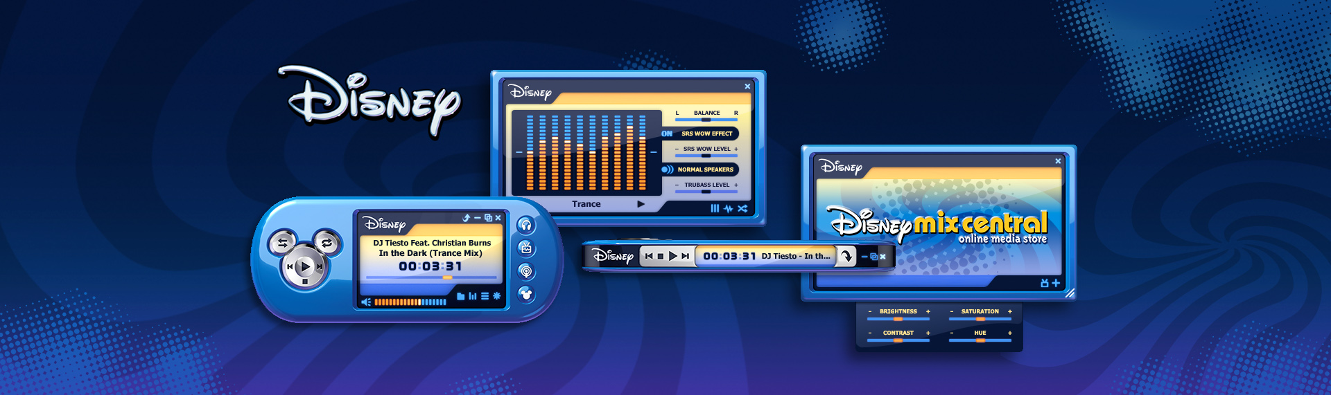 "Disney Mix Central  Client: The Walt Disney Company  The Skins Factory was contracted by Disney to create an animated Disney Mix Central-branded Windows Media Player 11 skin. Taking inspiration from Disney's ""real-world"" hardware player, Disney Mix Max, the The Skins Factory rendered a gorgeous companion to the Disney Mix Central store we designed with Disney. We broke the boundaries of 2D skins by creating functionality on more than just the front of the player skin. Flip it on its side and you have a micro player."