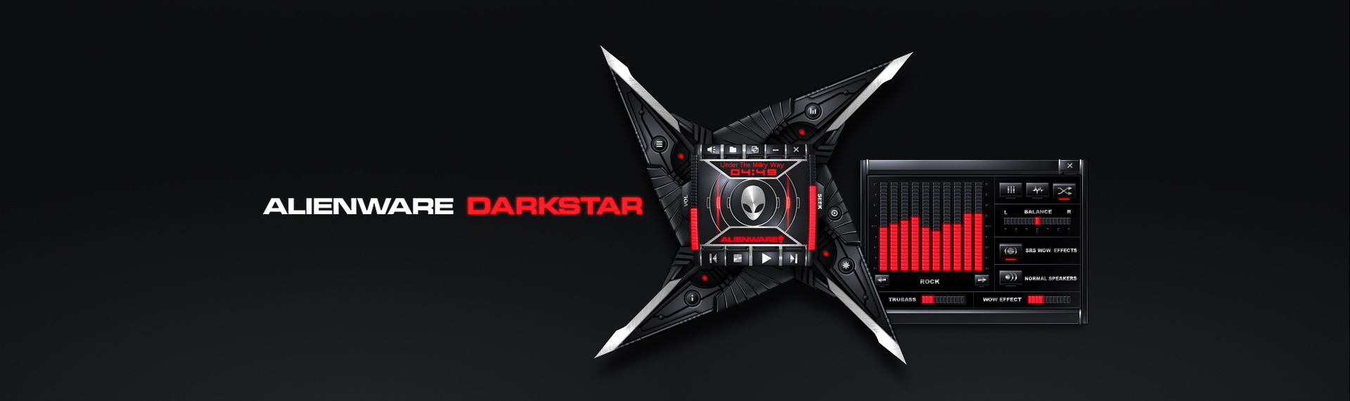 Alienware Darkstar  Client: Alienware Corporation + Microsoft  From the deepest, darkest reaches of space it came - prepared to unleash its dark power on unsuspecting desktops across the galaxy. Alienware Darkstar features breathtaking design elements such as audio-enhanced startup and runtime animations, function-responsive LED arrays and highly tactile control surfaces. All of these features combine to create a stunning Windows Media Player skin brilliantly captured in black and red and infused with traces of Alienware's distinctive style.