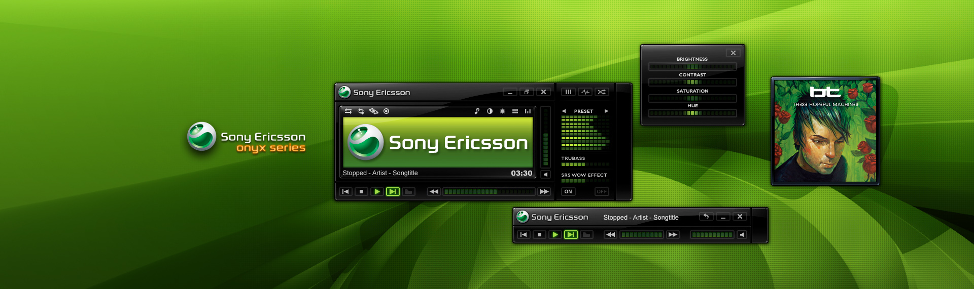 Sony Ericsson Onyx Series  Client: Sony Ericsson  Sony Ericsson commissioned The Skins Factory to design and develop a highly versatile Windows Media Player 11 skin, featuring ultra-thin modes for audio and video in 6 color-bursting styles. Each vibrant theme, fully compliments a corresponding chromatic theme of the Sony Ericsson Onyx Series Windows desktop theme powered by Hyperdesk. Copyright. Sony Ericsson Mobile Communications AB. All Rights Reserved.
