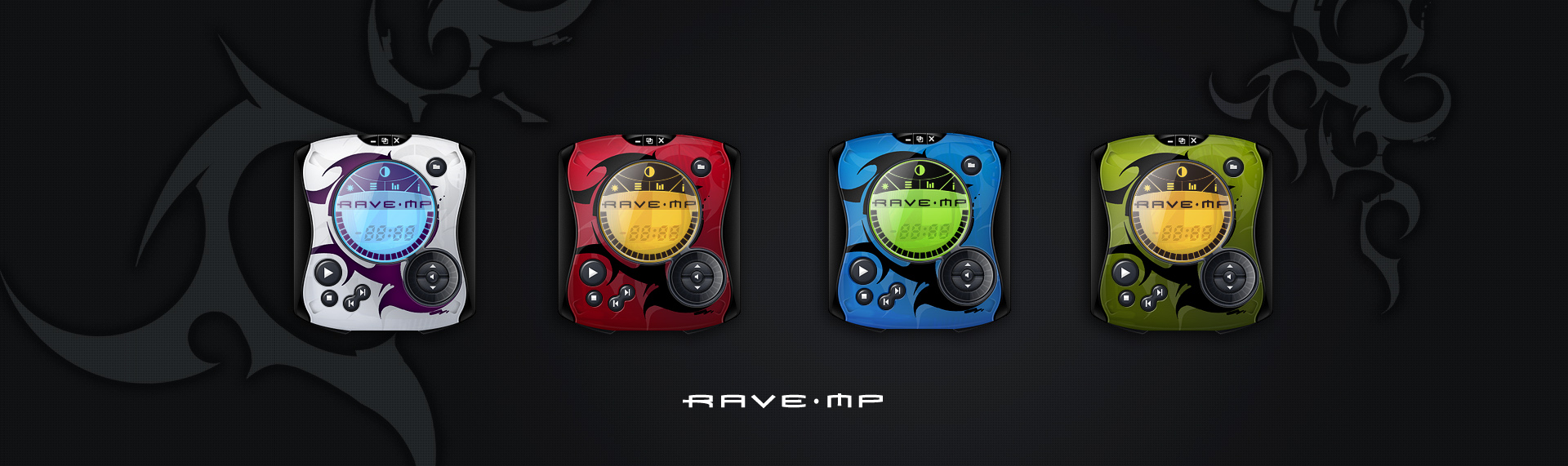 RAVE MP  Client: Go Video  Like its real world counterpart the RAVE-MP Windows Media Player skin is long on ergonomic design and ripe with intuitive construction. With 4 distinct color schemes, RAVE-MP is the new name in cool when it comes to player skins. Sporting sleek tribal patterns and colors that could only have been plucked from the slickest paint palette, we guarantee to make even the most square user - hip.