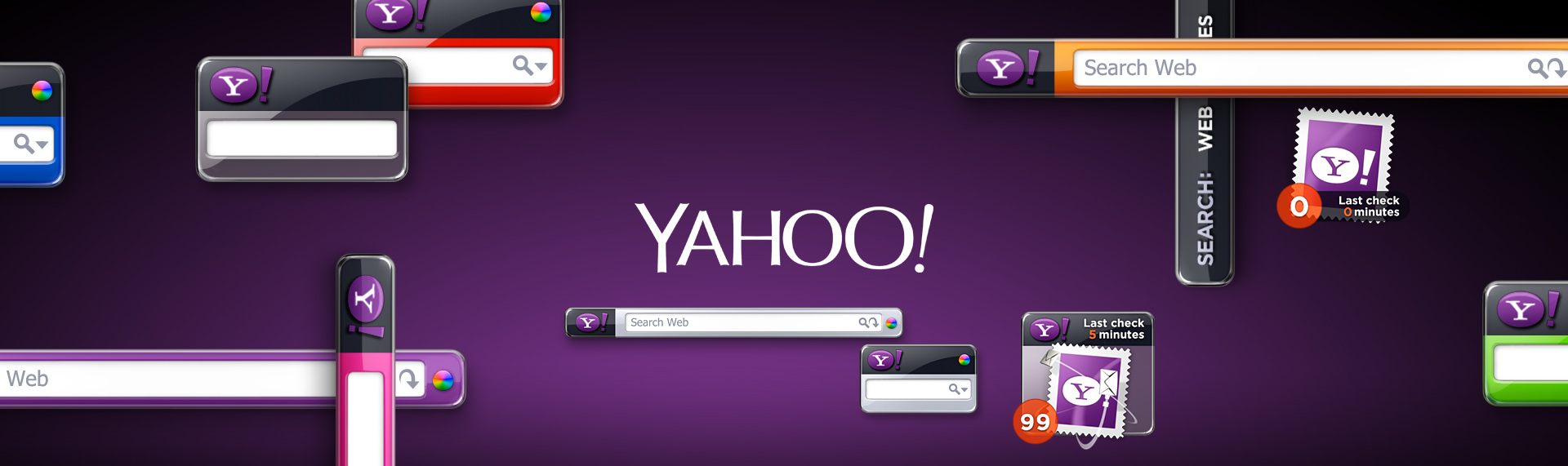 """Yahoo! Search & Email Gadget  Client: Yahoo!  Yahoo!, Inc. joined forces with The Skins Factory to design & develop their Yahoo! Search Gadget. With a hyper-glossy dual-acrylic styling (color injected into a virtual, clear acrylic base), animations featuring realistic motion blurs & an exciting color palette, this dynamic gadget """"flips"""" so the user can use both sides of this virtual device. The gadget comes in 2 distinct modes - the robust desktop & compact Sidebar mode in 8 colors."""