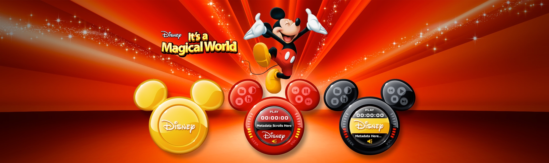 Disneys Its a Magical World Audio Remote  Client: The Walt Disney Company  As part of the Hyperdesk Disney It's a Magical World Windows desktop theme, the magical Mickey Mouse Audio Remote delighted users of all ages with its high-gloss style, seven vibrant colors and Mickey Mouse's iconic shape. The Mickey Mouse Yahoo! widget controlled Apple's iTunes and Microsoft's Windows Media Player as a remote control with a small desktop footprint.