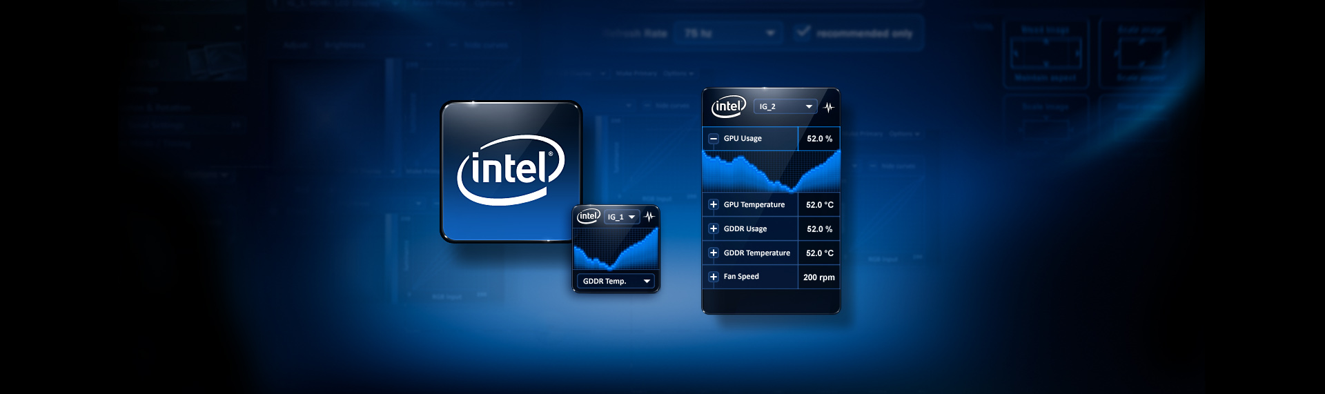 Intel Graphics Control Panel Gadget  Client: Intel Corporation  A custom Windows gadget created in tandem with the jointly developed application - the Intel Graphics & Media Control Panel application. Over the following 17 months, TSF orchestrated development with Intels Engineering & Branding arms to reinvent the graphics control panel. In addition to crafting a beautiful fluidly animated appearance, we created this dynamic Windows Sidebar Gadget that shares perfect visual symmetry with the Graphics Control Panel.