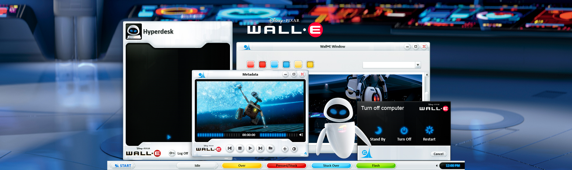 Disney Pixar's EVE  Client: Under License from The Walt Disney Company  Introducing the official Pixar-approved EVE Windows desktop theme. Powered by The Skins Factory's Hyperdesk advanced Windows desktop theming solution, this desktop theme featured 2 themes based on EVE's high-gloss, white body and blue LEDs and includes over 50 stylized desktop icons, 18 wallpapers from the hit film, and a Windows Media Player skin. This Windows desktop theme is no longer available.