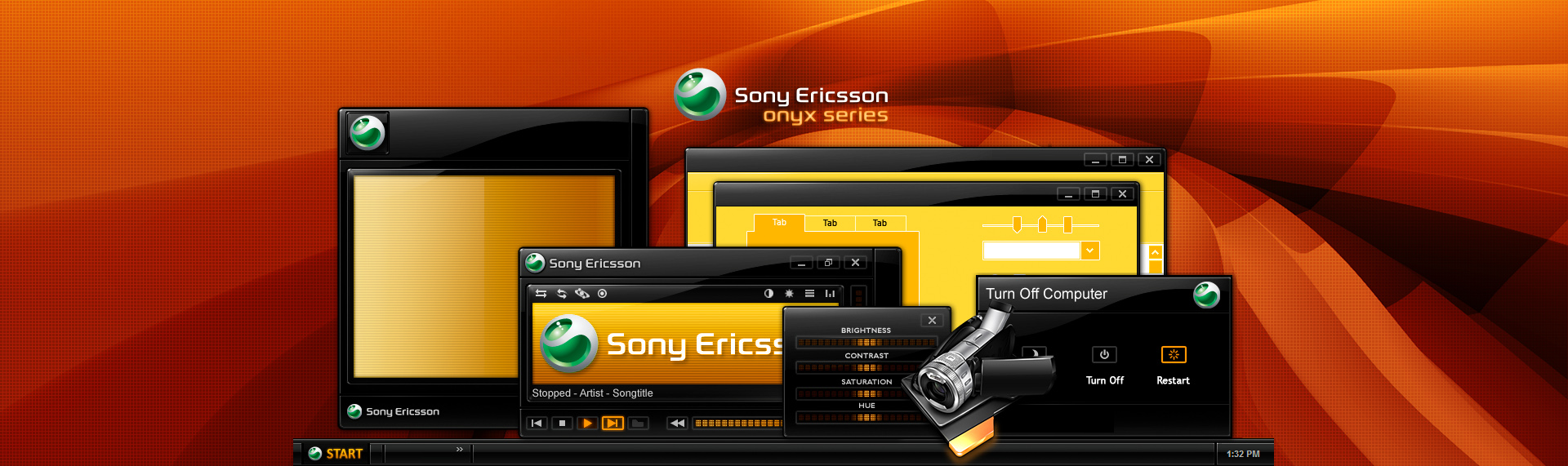 Sony Ericsson Onyx Series  Client: Sony Ericsson  Sony Ericsson and The Skins Factory present an exciting, color-filled exploration into Windows XP desktop customization. Featuring more than six chromatic-rich Hyperdesk hyperthemes, 61 stunning desktop icons, a super sleek Windows Media Player skin, Winamp skin and 6 gorgeous, chromatically-infused wallpapers. Copyright 2008. Sony Ericsson Mobile Communications AB. All Rights Reserved.