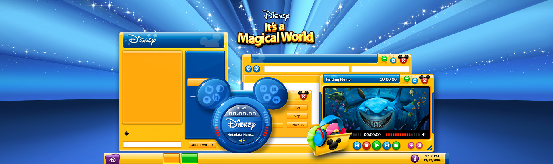 Disney's It's a Magical World  Client: The Walt Disney Company  Initially contracted by The Walt Disney Company and then under license, the Official Disney Desktop theme for Windows 7, Vista & XP, features 5 color themes, an assortment of magical desktop icons, custom wallpapers, a fun Mickey Mouse iTunes audio remote and a Windows Media Player skin. The theme was powered by The Skins Factory's advanced Windows desktop theming solution Hyperdesk, Unfortunately, this magical theme is no longer available.