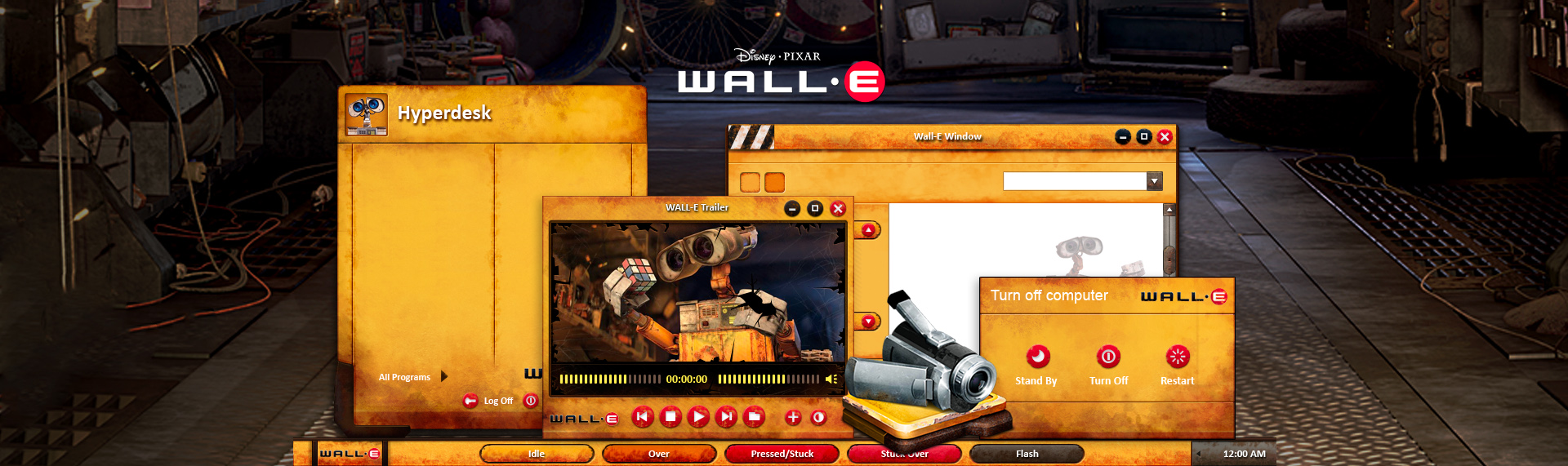 Disney Pixar's WALL-E  Client: Under License from The Walt Disney Company  Introducing the official Pixar-approved WALL-E Windows desktop theme. Powered by The Skins Factory's Hyperdesk advanced Windows desktop theming solution, this desktop theme featured 2 themes based on WALL-E's yellow, rusted metallic body and includes over 50 stylized desktop icons, 18 wallpapers from the hit film, and a Windows Media Player skin. This Windows desktop theme is no longer available.