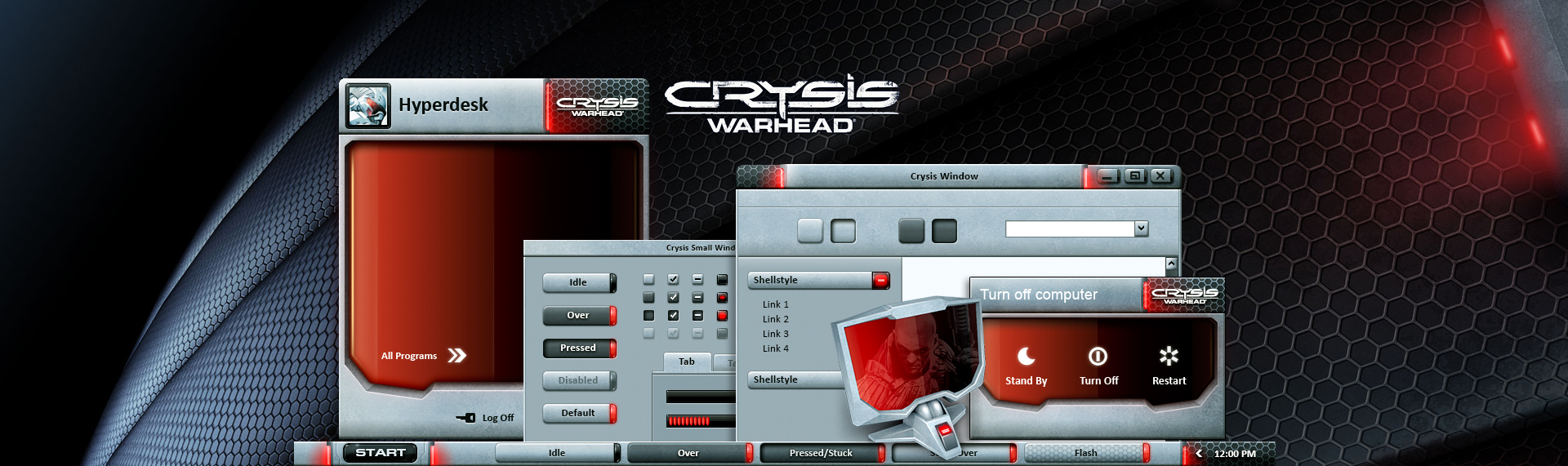 Crysis: Warhead  Client: Electronic Arts + NVIDIA + Ultra PC  Powered by The Skins Factory's Hyperdesk advanced Windows desktop theming solution, Electronic Arts, NVIDIA, Ultra PC contracted The Skins Factory to design and power the Official Crysis: Warhead Windows XP desktop theme. Features 3 Windows XP themes, 15 icons, a custom, ultra-cool nano suit inspired wallpaper. Unfortunately, this theme is no longer available. Crysis is Copyright 2008. Crytek. All rights reserved.