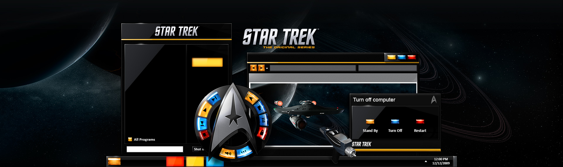 "STAR TREK: The Original Series  Client: Under License from CBS Consumer Products)  Powered by The Skins Factory's advanced Windows desktop solution, Hyperdesk, STAR TREK: The Original Series is a Starfleet & Federation-approved set of 3 Windows 7 / XP / Vista desktop themes, that are every STAR TREK fan's dream. From the ""beaming"" in audio remote, StarFleet division-based themes, the incredibly cool STAR TREK icons, and custom wallpapers, you'll realize this was made by fans for fans. TM & 2009. CBS Studios Inc."