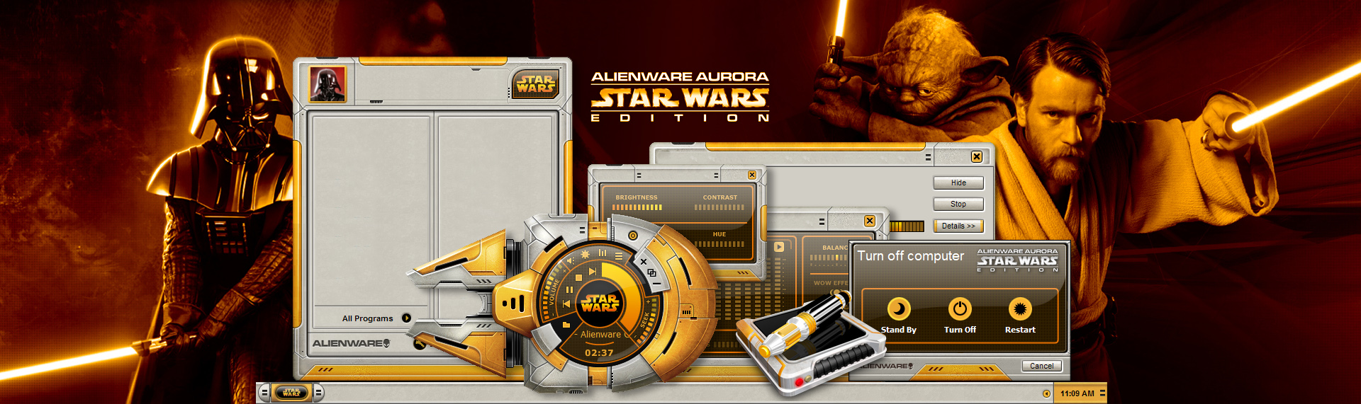 Alienware Aurora Star Wars Edition  Client: Alienware Corporation  The Skins Factory was contracted by Alienware Corporation to create an entire Windows desktop theme, based on the style of the Rebellion's ships. Available only when you purchased the Alienware Aurora Star Wars Edition computers. The suite Included a custom Windows Media Player skin, set of 35 Star Wars inspired icons, custom desktop and wallpapers designed around custom images created by Alienware's in-house design team.