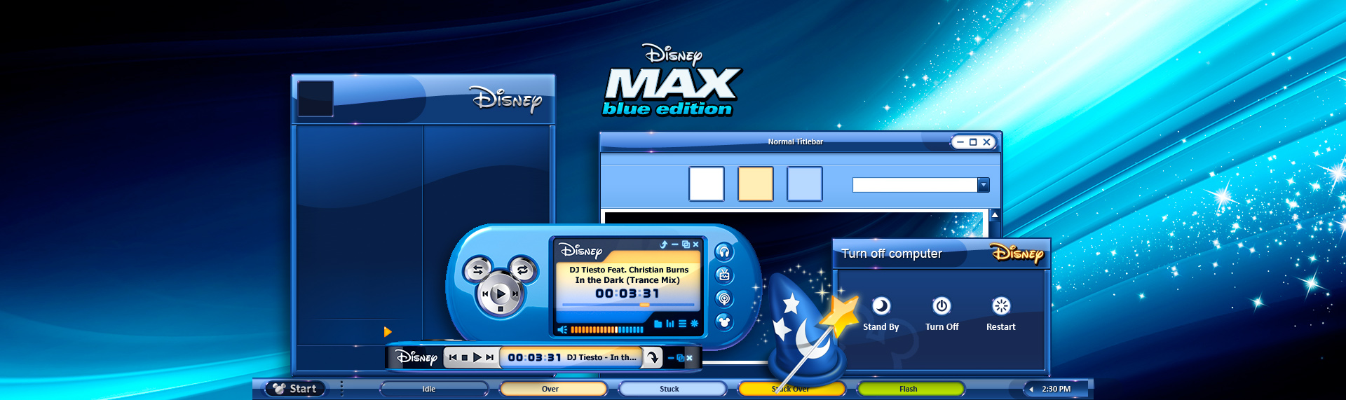 "Disney Max  Client: The Walt Disney Company  Powered by The Skins Factory's Hyperdesk theme solution, The Skins Factory created these magical Disney themes for The Walt Disney Company's netbook - Magic Blue. Featuring glossy blue & pink themes, Disney-centric desktop icon suite and magical wallpapers. While a ""lite"" version is sold with the netbook, the Hyperdesk version seen here is no longer available. Copyright. The Walt Disney Company. All Rights Reserved."