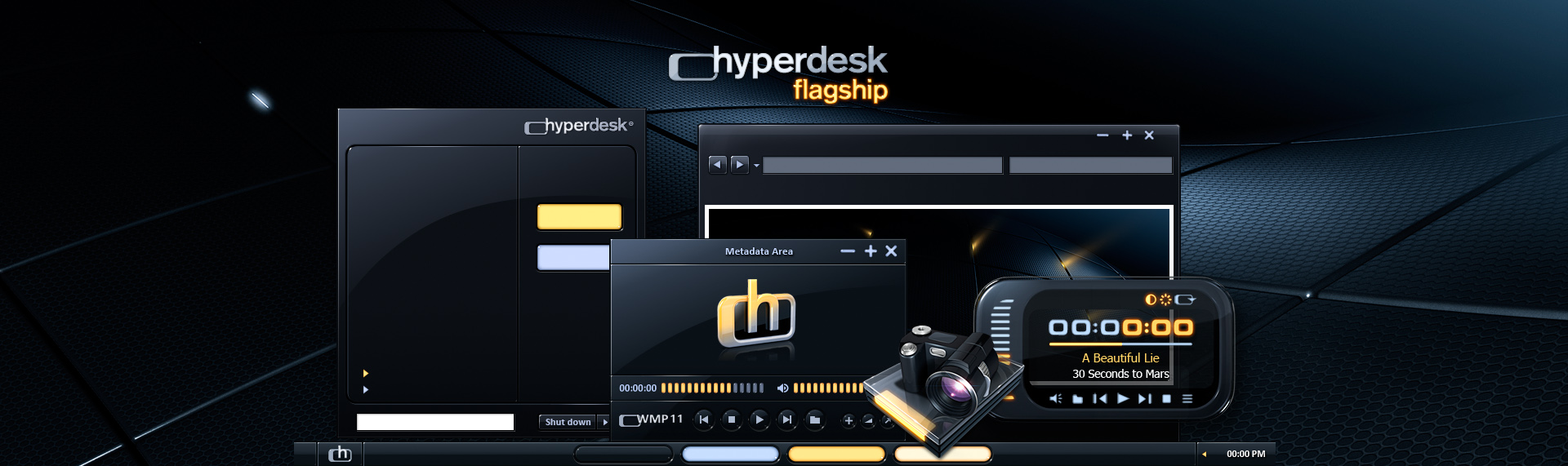 Hyperdesk Flagship  Client: The Skins Factory  When our highly capable interface design team at The Skins Factory developed the Hyperdesk application's user interface, we created a futuristic design. We've ported those design elements into a Windows desktop theme called - Hyperdesk Flagship. Includes 2 themes - Pulse & Deep Shadows. Also included are 6 folder sets, a set of stunning icons, wallpapers, a Windows Media Player 11 video skin and a iTunes/Windows Media Player audio remote. This desktop theme is no longer available.