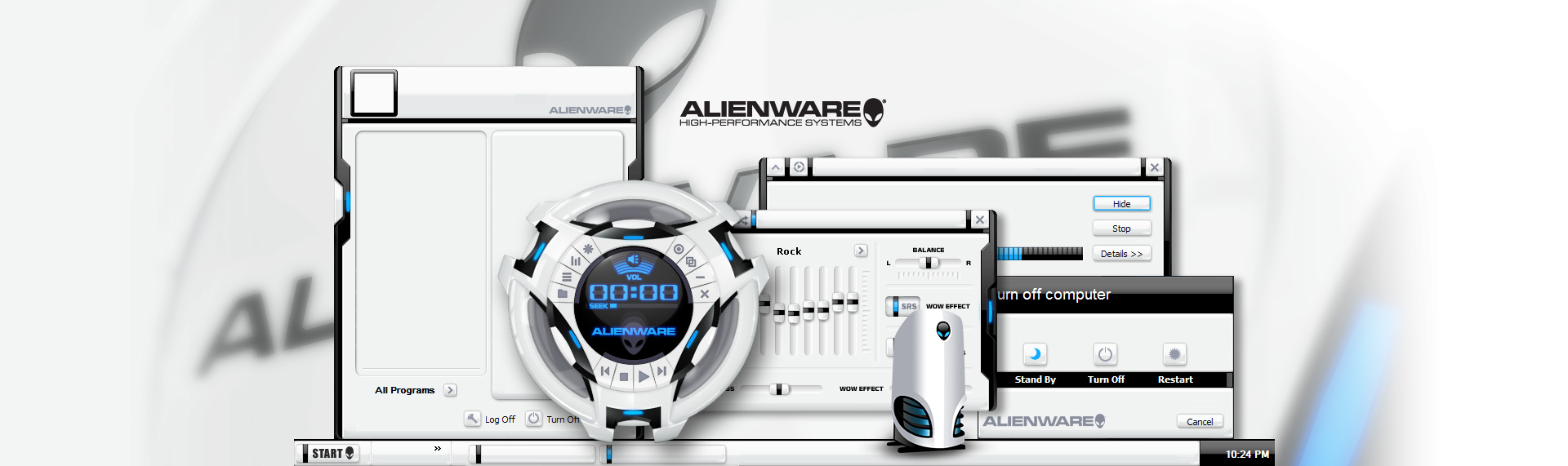 Alienware AlienMorph  Client: Alienware Corporation  Alienware Corporation and The Skins Factory designed the mega-popular Alienware AlienMorph Skin Suite. Suite includes an animated Windows Media Player skin, icons and a custom desktop wallpaper. Alienware has logged more than 2.5 million downloads (in the first year) of AlienMorph & ALXMorph desktop themes off their web servers, proving once again the power of desktop customization. Copyright. Alienware. All Rights Reserved.