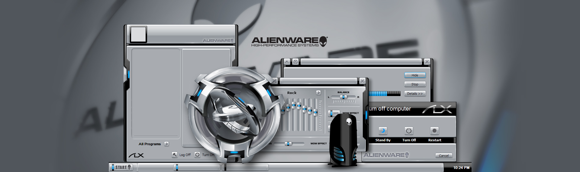 Alienware ALXMorph  Client: Alienware Corporation  Alienware Corporation and The Skins Factory designed the mega-popular Alienware ALXMorph Skin Suite. Suite includes an animated Windows Media Player skin, icons and a custom desktop wallpaper. Alienware has logged more than 2.5 million downloads (in the first year) of AlienMorph & ALXMorph desktop themes off their web servers, proving once again the power of desktop customization. Copyright. Alienware. All Rights Reserved.
