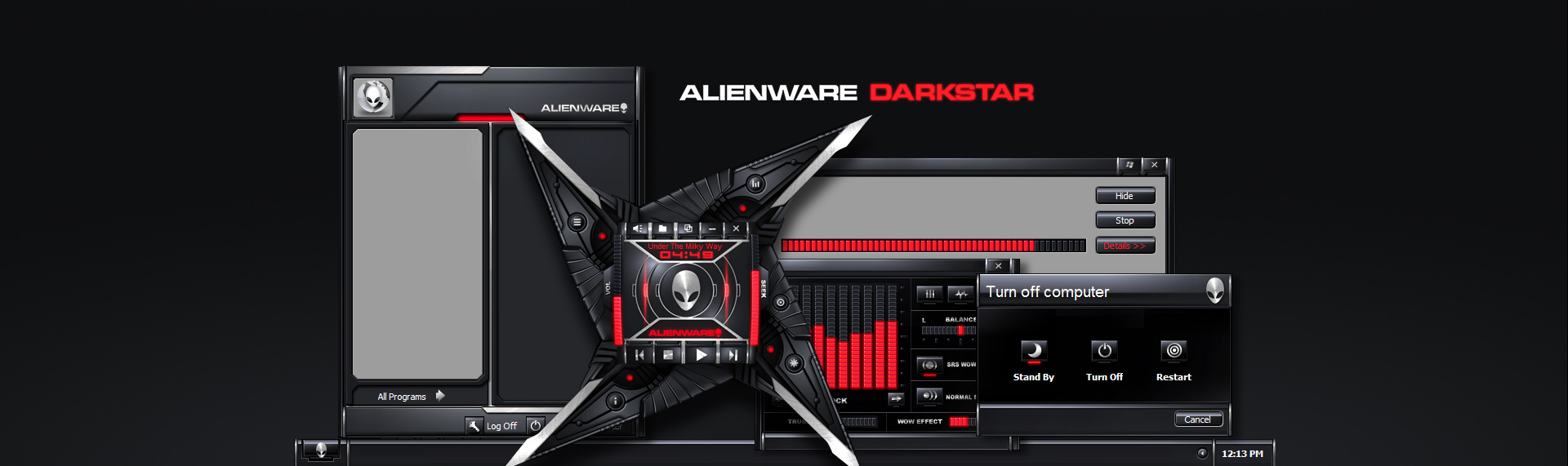 Alienware Darkstar  Client: Alienware Corporation  Alienware Darkstar features breathtaking design elements such as audio-enhanced startup and runtime animations, function-responsive LED arrays and highly tactile control surfaces. All of these features combine to create a stunning desktop design brilliantly captured in black and red and infused with traces of Alienwares distinctive style. This was The Skins Factory's first Alienware Windows desktop theme. We'd gone to design 6 more. Copyright. Alienware Corporation. All Rights Reserved.