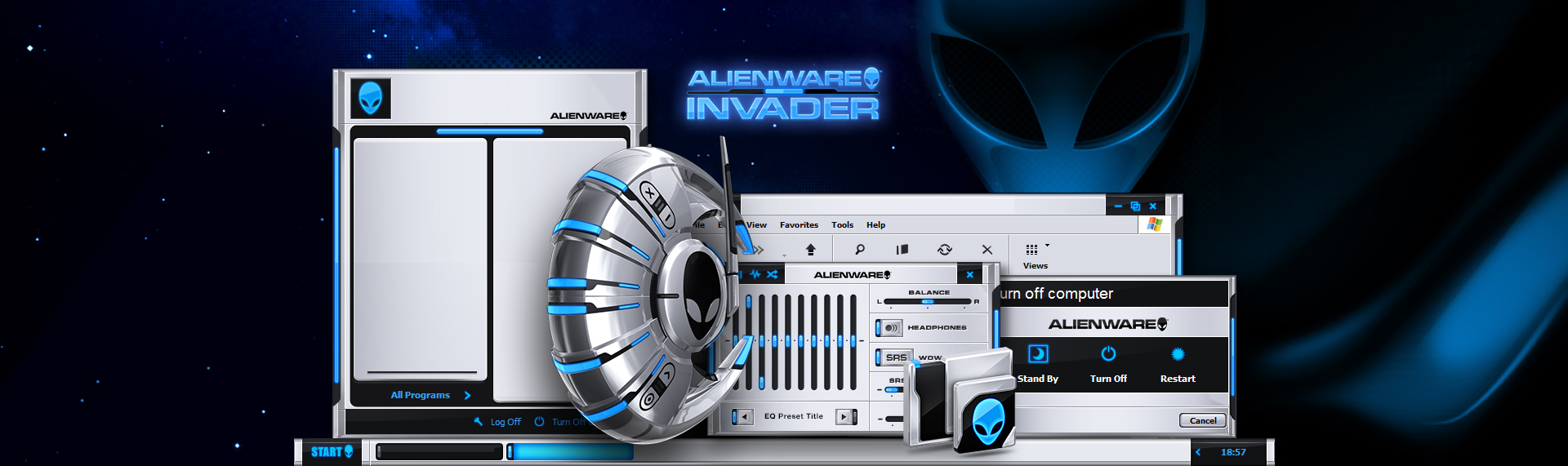 Alienware Invader  Client: Alienware Corporation  The Skins Factory once again raised the bar on complete desktop skinning and User Interface design with our 7th and final theme for Alienware Corporation. Featuring a complete desktop suite that covers the Windows theme, desktop icons, custom wallpaper and the most dynamic, animated, otherworldly Windows Media Player skin in the galaxy. You have to see it to believe it. Copyright. Alienware Corporation. All Rights Reserved.