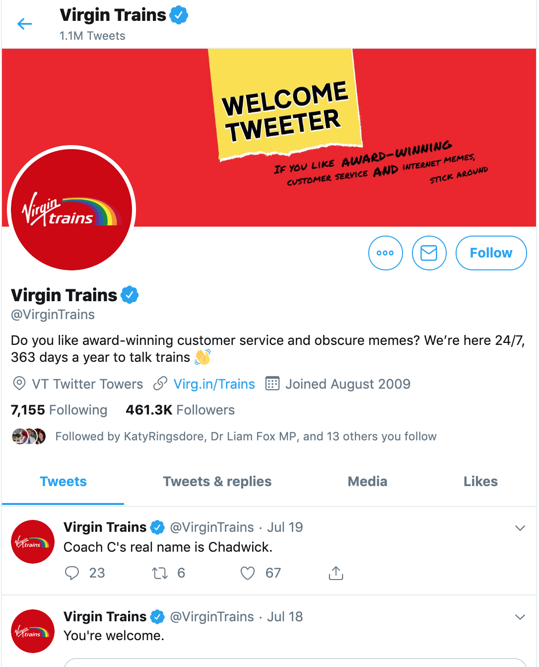 Click here to view the virgin trains twitter!
