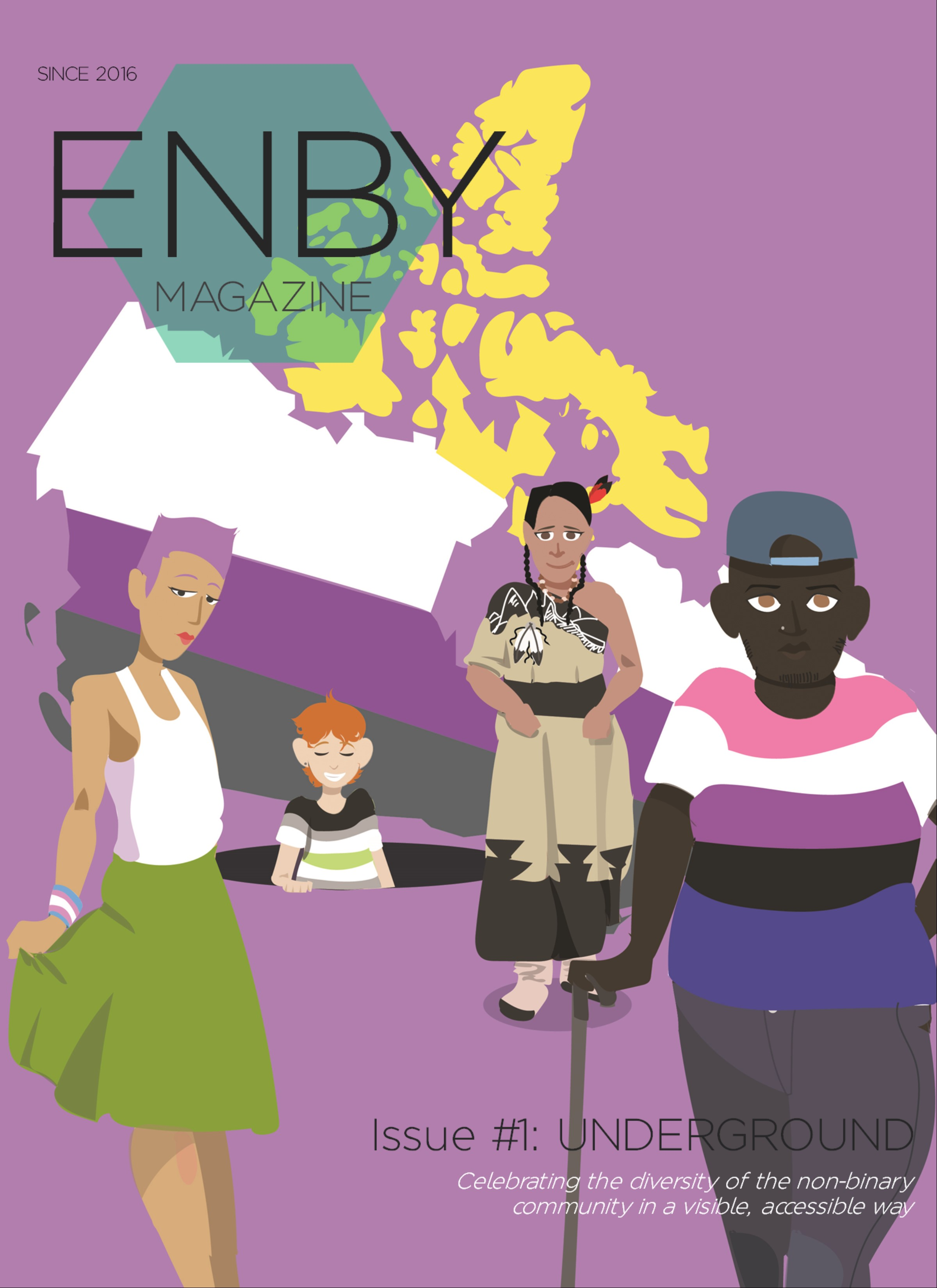 Issue #1: UNDERGROUND - This issue that started it all. Fun fact: ENBY Magazine actually began as a Canada-only publication before expanding to international submissions, while still mainly distributed across North America. UNDERGROUND was forged at a time where non-binary representation was sparse, particularly by those living in Canada. It showcased work about Two-Spirit identity, geography and its impact on life experiences, visual art, and more. Cover art by a longtime friend of the mag, Jeffery Kingsley.