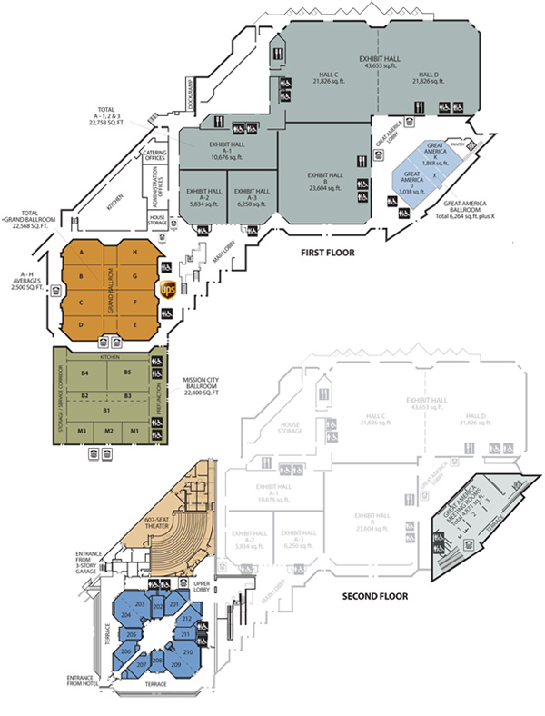 Floor plans with a topical view, displaying room numbers and square footage.