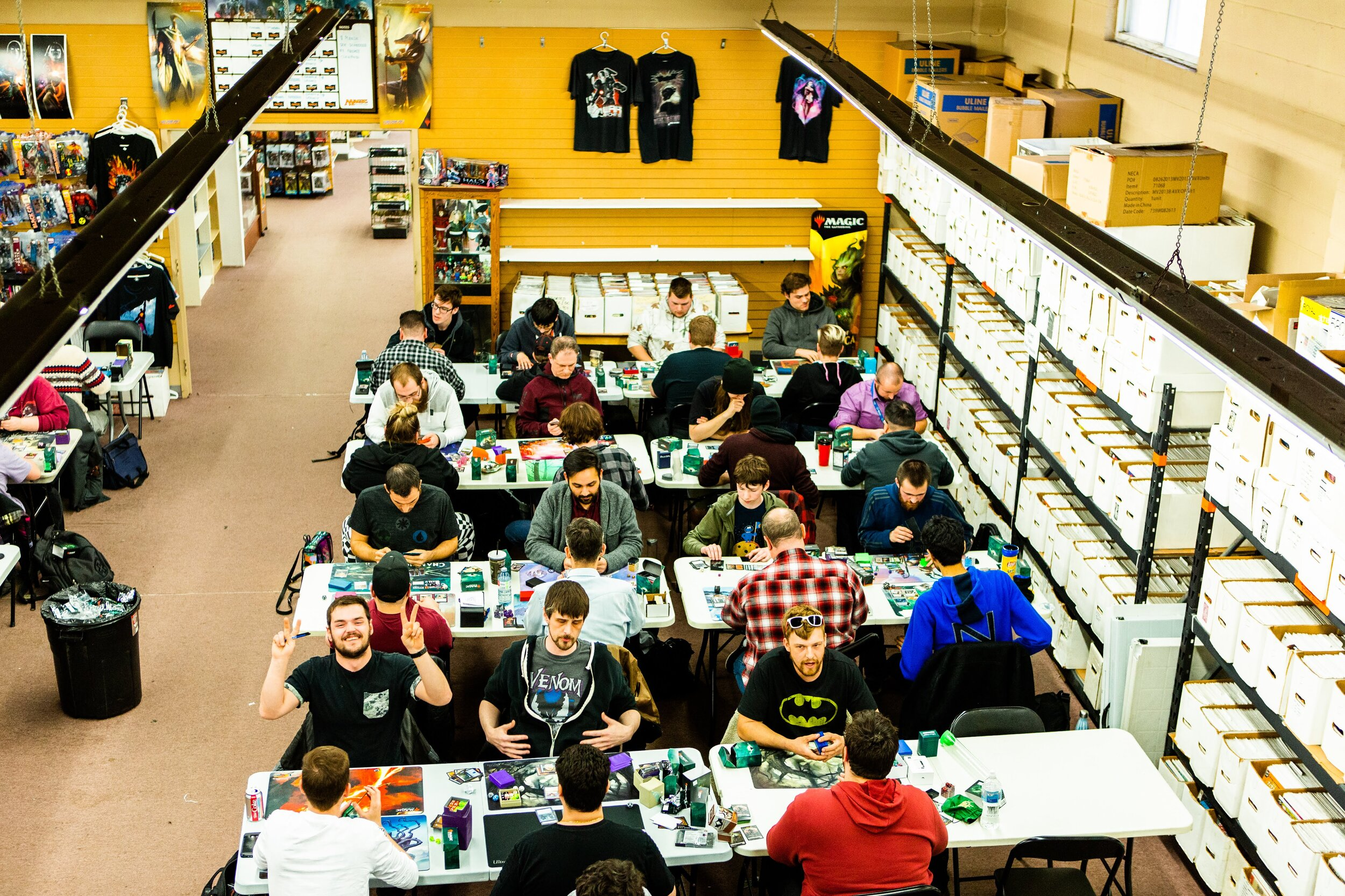 Magic The Gathering Events - Tuesday: Commander all day till closeWednesday: Standard @6Pm $5 entry W/ PrizingThursday: Modern @6Pm $5 Entry W/ PrizingFriday: FNM draft and Legacy $17 for draft $10 for legacy both with prizing and FNM promos!Saturday: Modern @2Pm $5 Entry W/ PrizingSunday: Draft @ 1Pm $17 entry W/ Prizing
