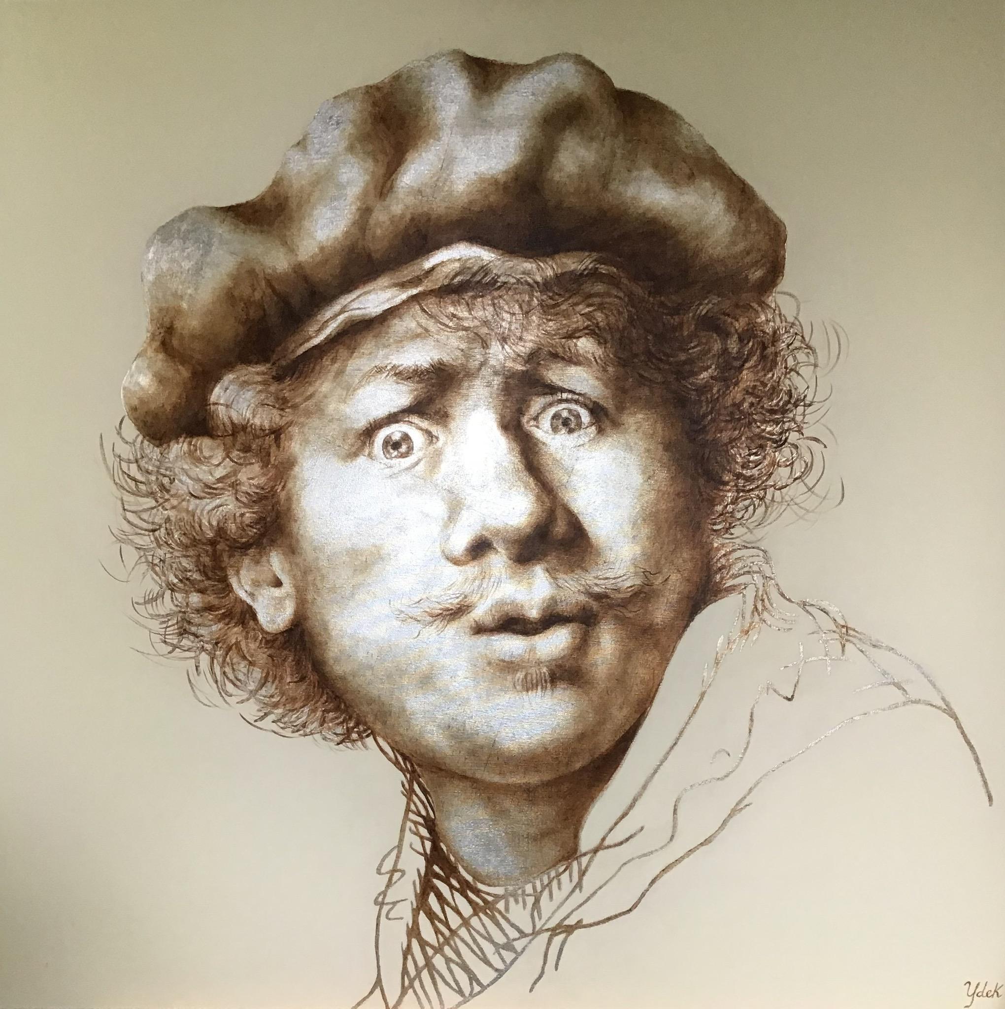 Nieuw werk - Na de opening van de tentoonstelling Lang Leve Rembrandt heb ik meteen een nieuw zelfportret van Rembrandt geschilderd.