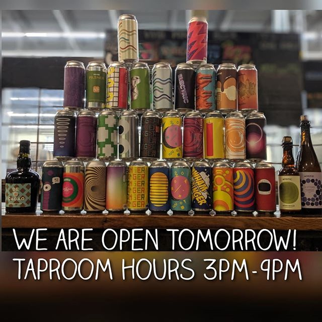 Never fear, we will be open tomorrow! We will be canning our last batches tomorrow that will be released throughout the week.  There will also be another release of some classics from the cellar tomorrow so stay tuned!  While we wish all the beers pictured are available, we do have labels for sale for most all pictured. If you want some art from Mystic for your own come grab a sticker!
