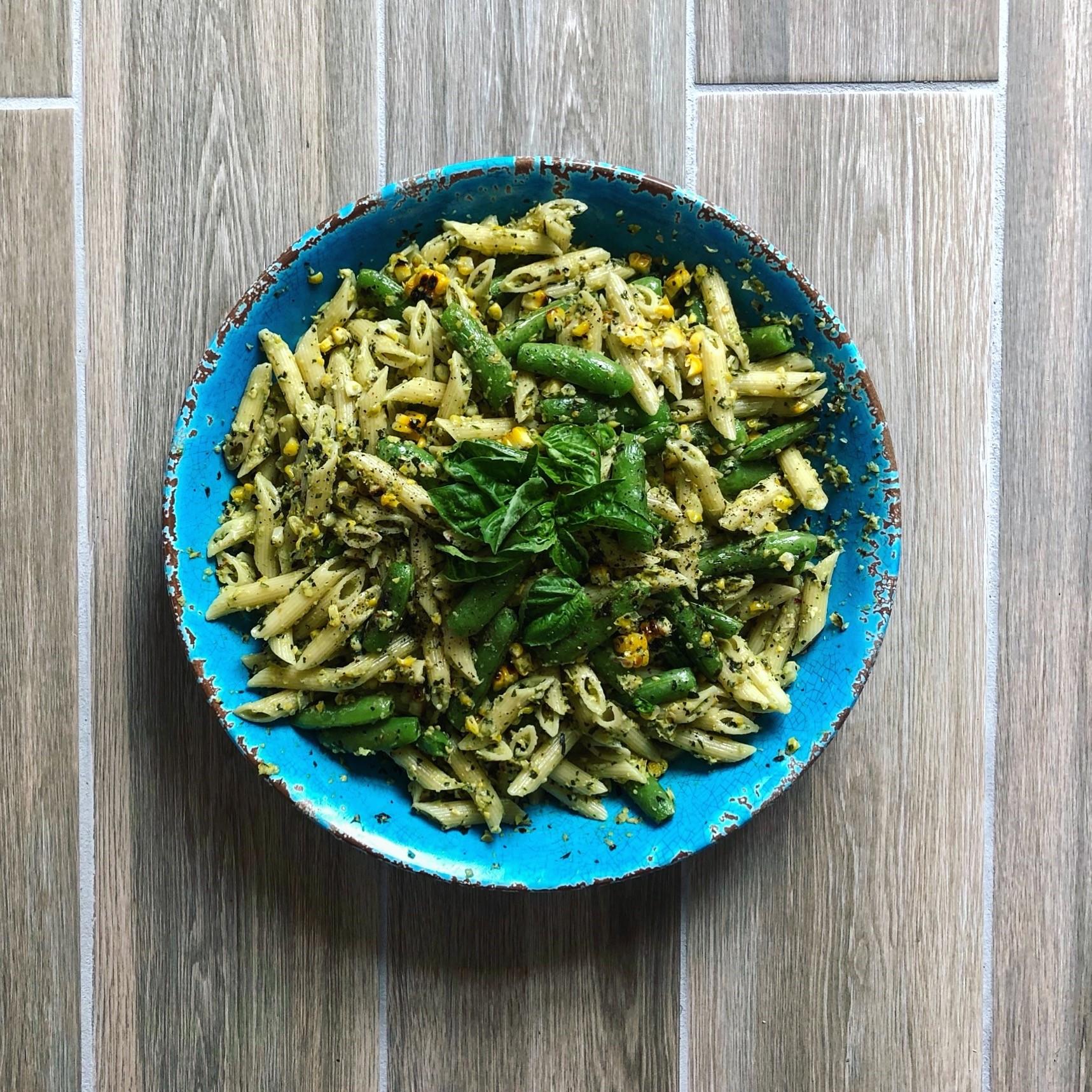 creamy corn pasta with basil