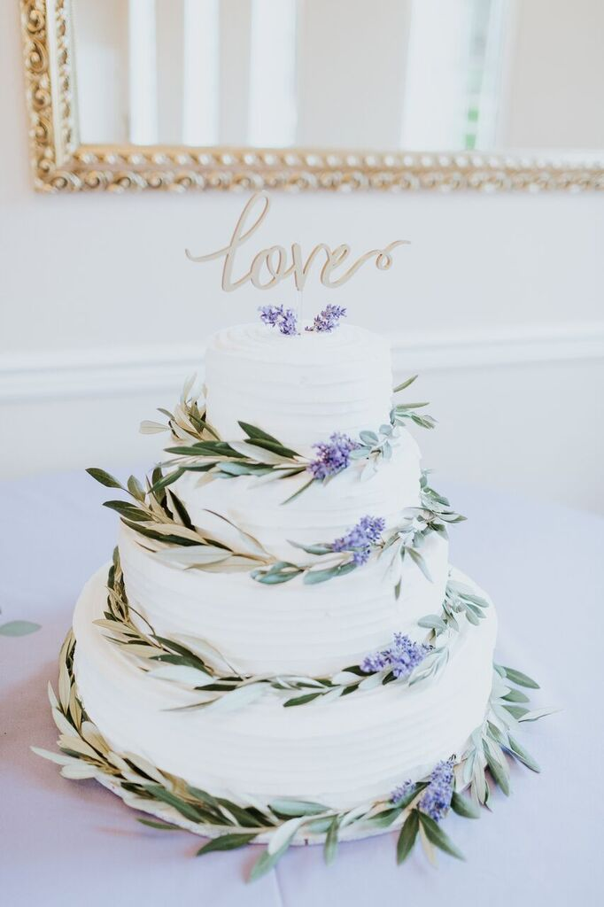 Lavendar and Olive Decorated Cake
