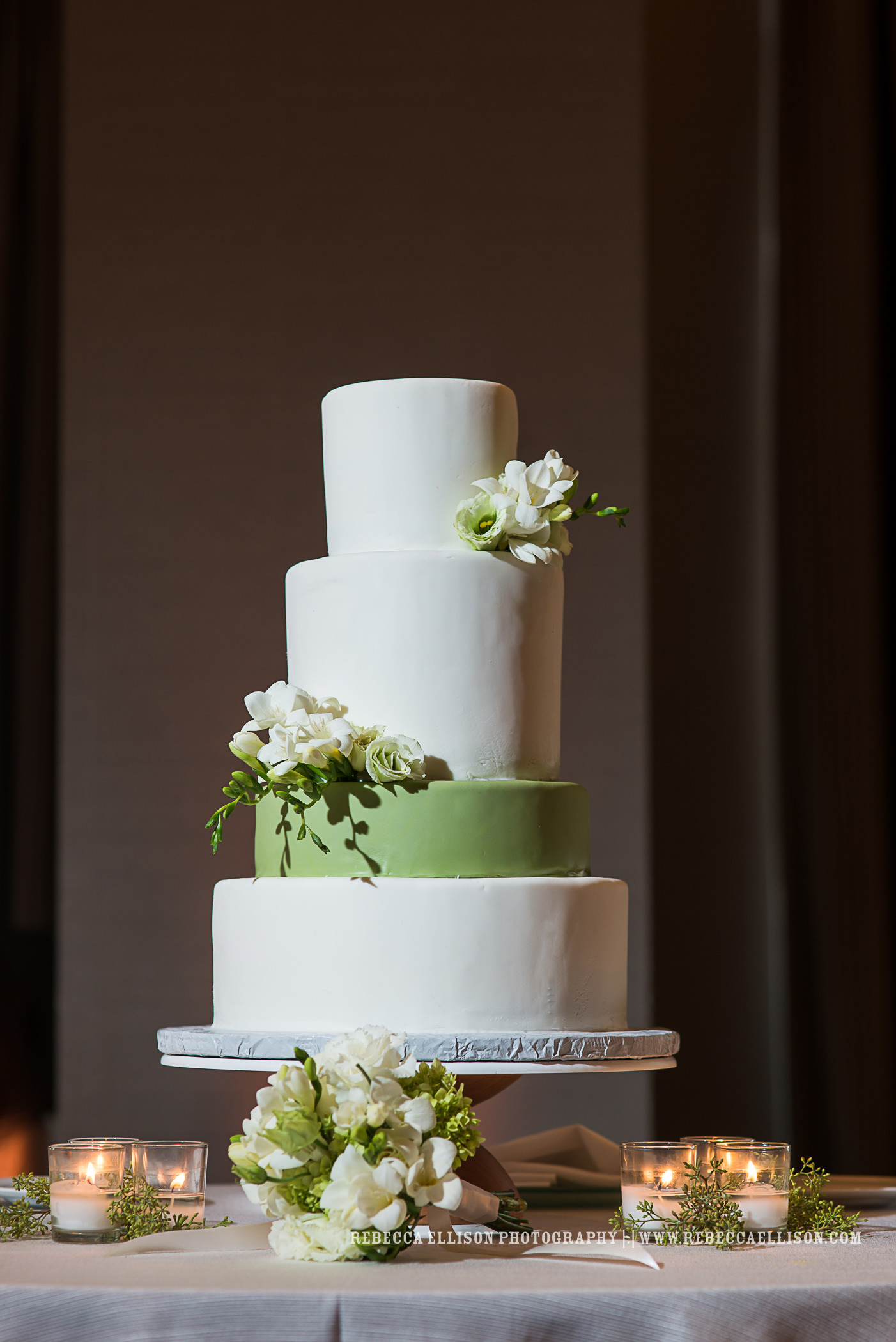 Cake Decorated with White Freesia