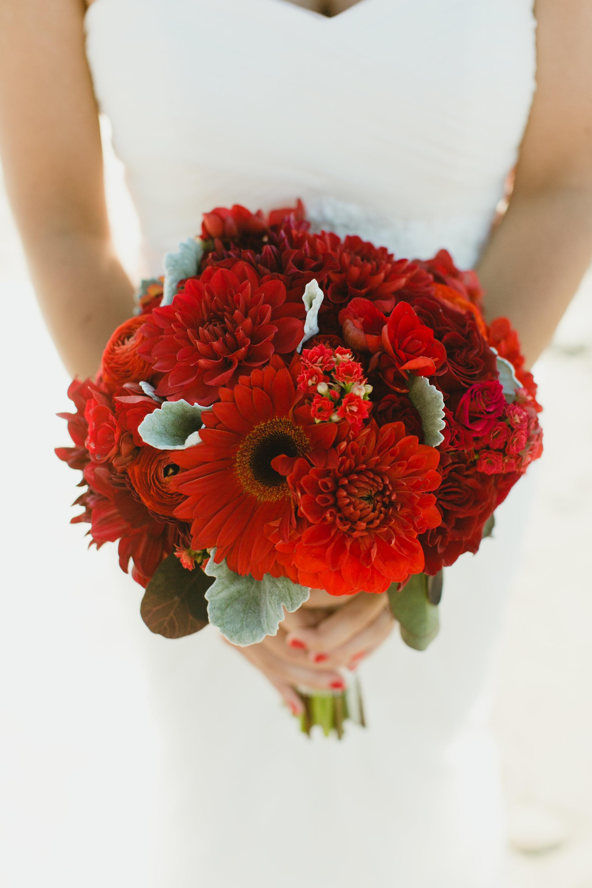 Bridal Bouquet in Rich Deep Reds