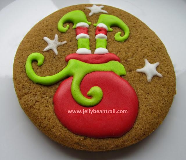 elf legs in a santa sack gingerbread man cookies jellybeantrail.jpg