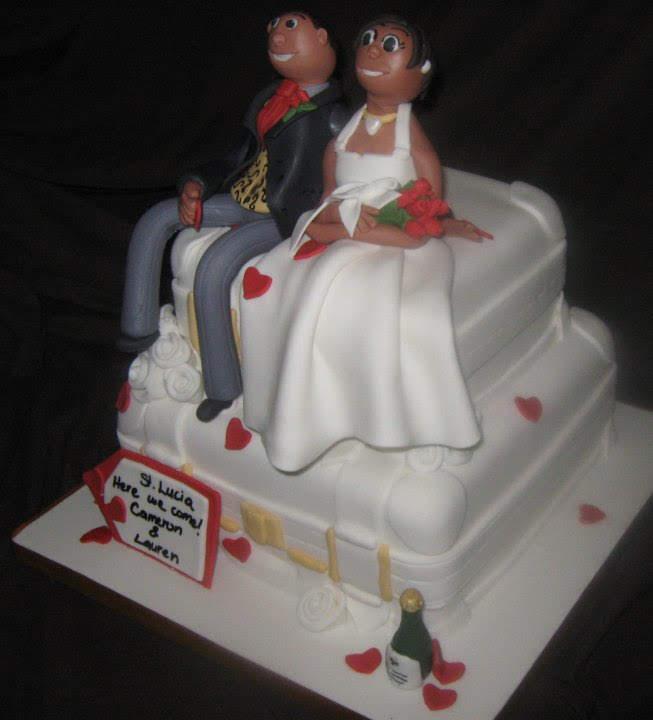 Suitcase destination wedding cake