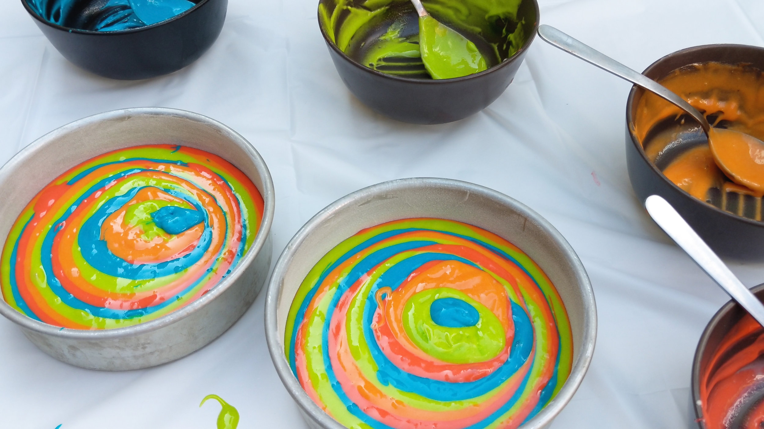 how to make a cake with a rainbow tie dye effect