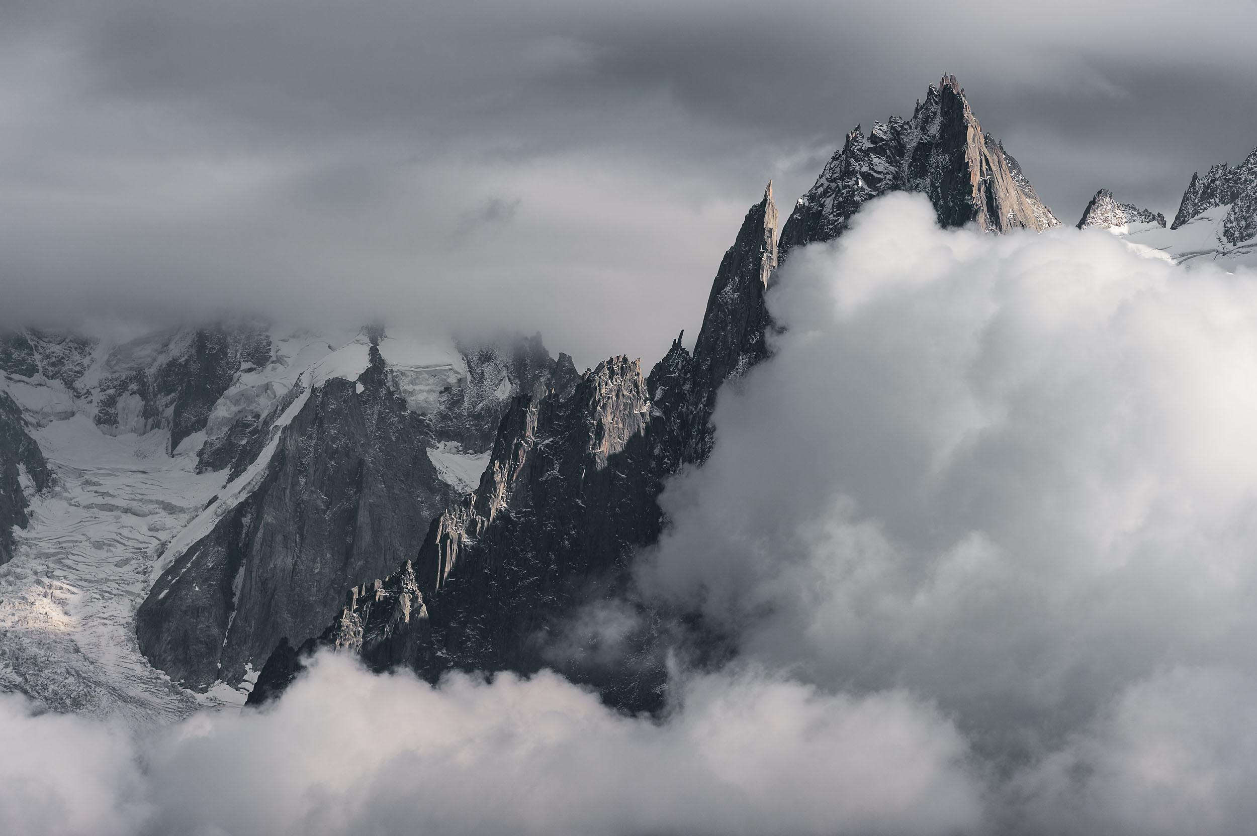 Dent du Géant glacier, Aiguille de la République and Aiguille des Grands Charmoz above Chamonix, France
