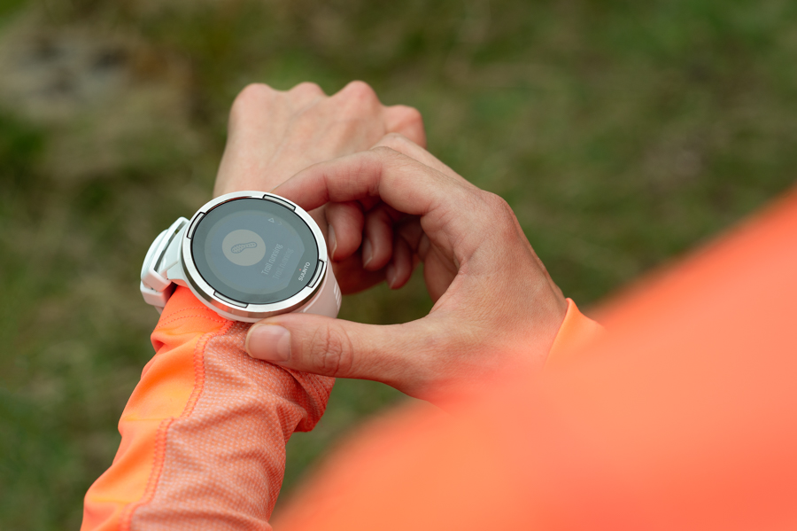 It's not just photographers who can take advantage of mobile apps. Here, Rachael Campbell prepares to set up her Suunto 9 Baro GPS watch for a day's trail running (You can pair the watch with Suunto's mobile app and keep track of your outdoor activities)