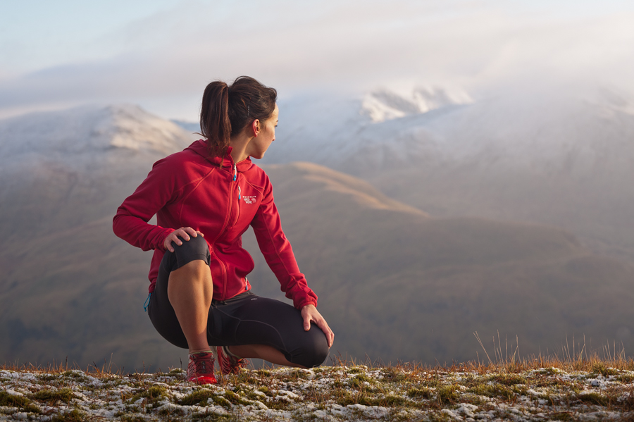 Portrait of Scottish multi-sports athlete Joanne Thom near the summit of Meall nan Tarmachan, a Munro in the South-East Highlands of Scotland