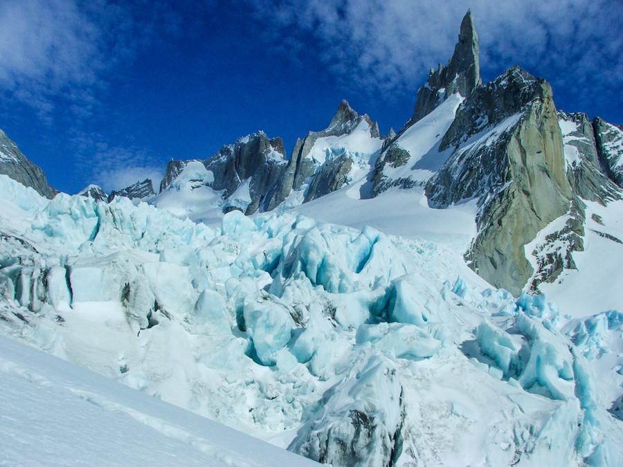 The very crevassed Fitzroy Norte Glacier beneath the Gran Germane on Cerro Pollone