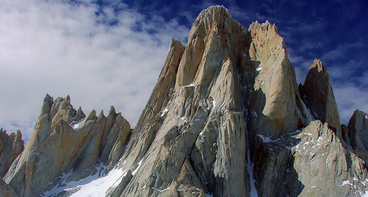 The north-west face of Chalten, aka Cerro Fitz Roy, split by the Supercanaleta or Super Coulouir