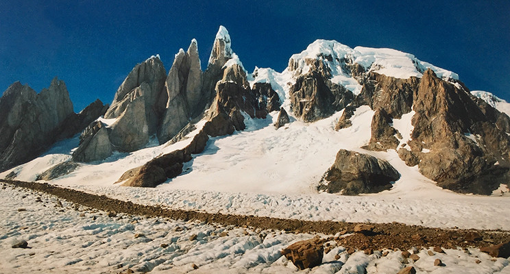 The view to Cerro Standhardt, Torre Egger, Cerro Torre and Cerro Adela from Circos de los Altares on a much more pleasant visit to the Southern Patagonian Ice Cap
