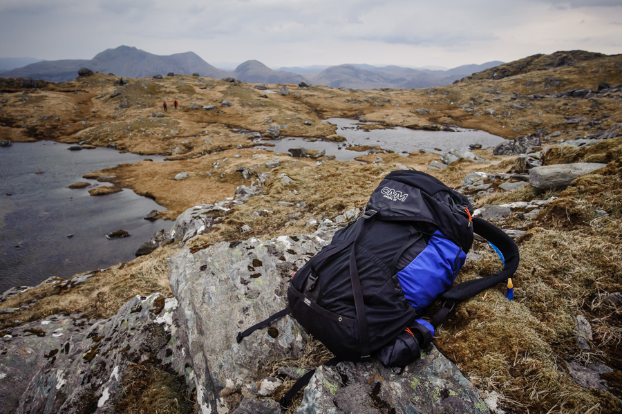 Using the OMM 32 backpack on Ladhar Bheinn in the West Highlands of Scotland during a sea kayaking and hillwalking editorial assignment for The Great Outdoors magazine.