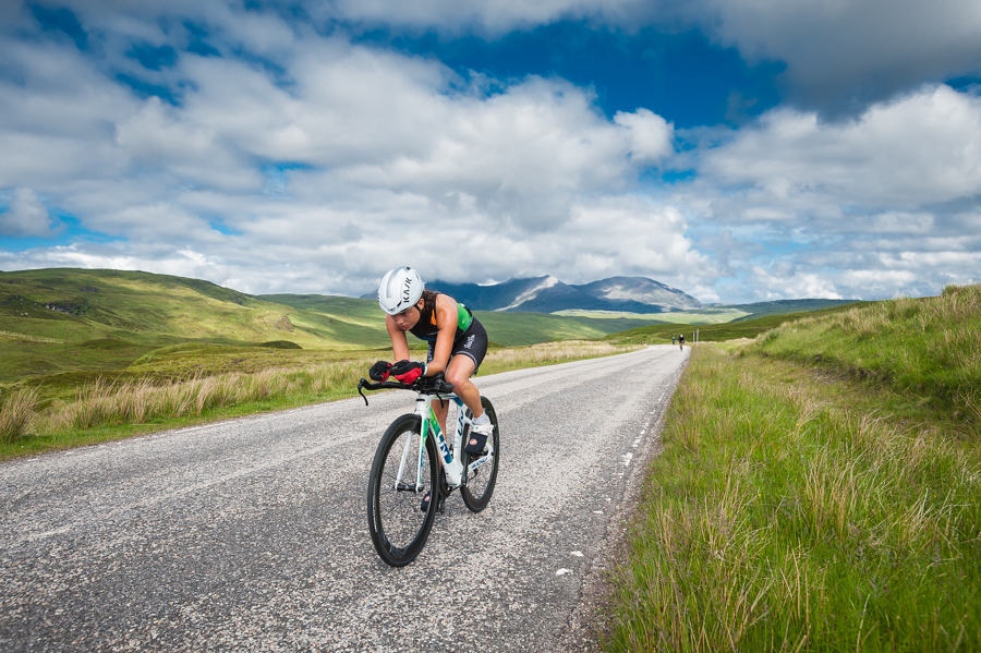 Bonnie van Wilgenburg on the Destitution Road during the 202km cycle stage of the Celtman Extreme Scottish Triathlon.