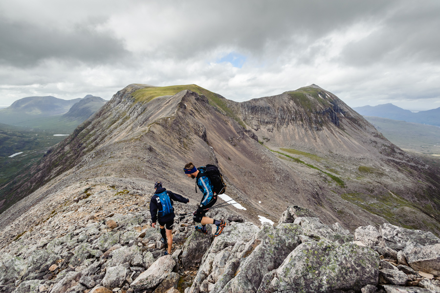 Competitors running on Beinn Eighe during the 42km running leg of the Celtman Extreme Scottish Triathlon.