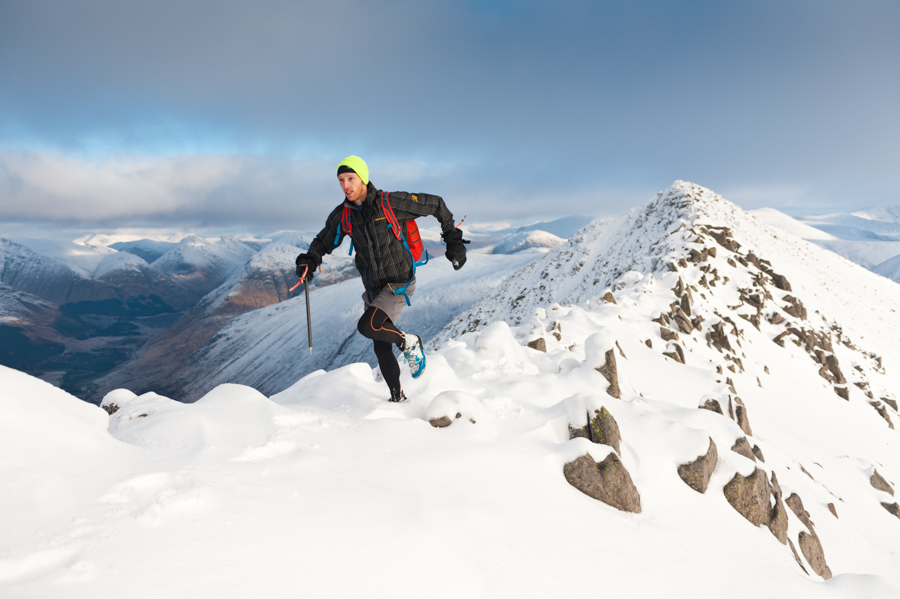 Doctor Andrew Murray on a ridgeline on Ben Starav, a Munro in the West Highlands of Scotland