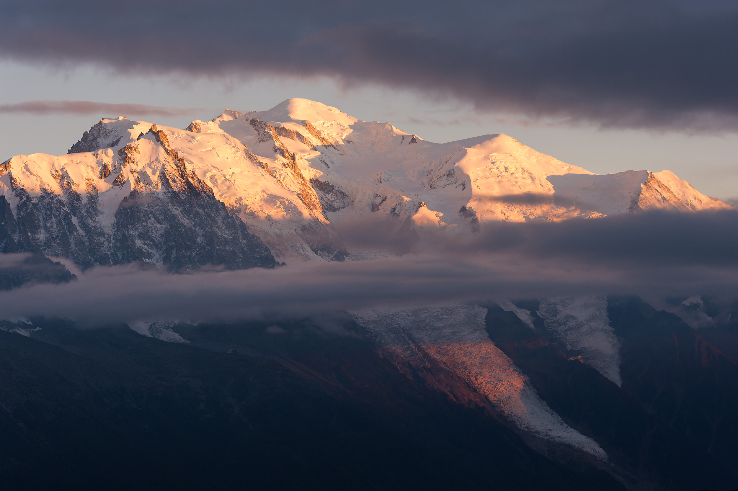 The sun setting on Mont Blanc, Europe's highest mountain, above Chamonix, France.