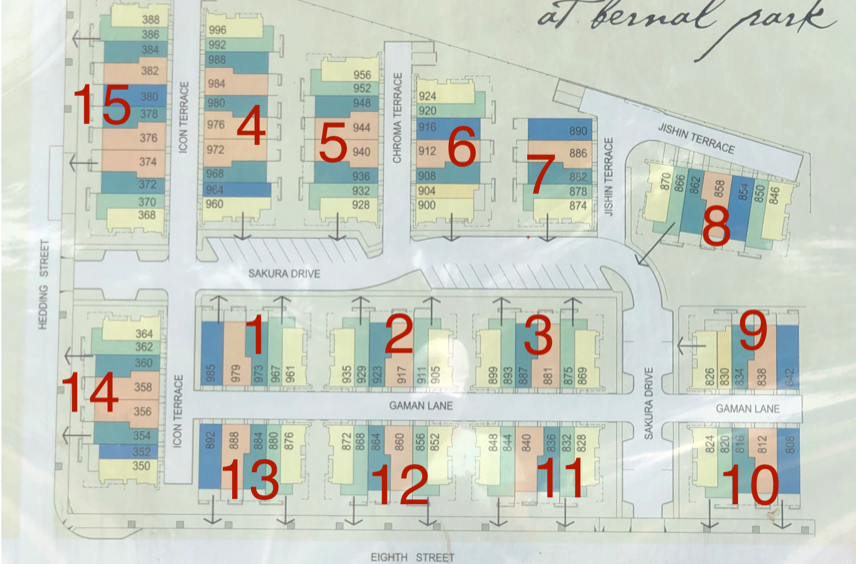 Installation Building Map - AT&T will install fiber to our buildings based on this order beginning with Building 1 on July 8, 2019 at 8am. They will continue the project according to the following schedule.