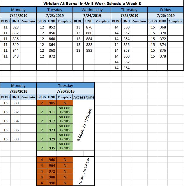 >>> - Installation Schedule