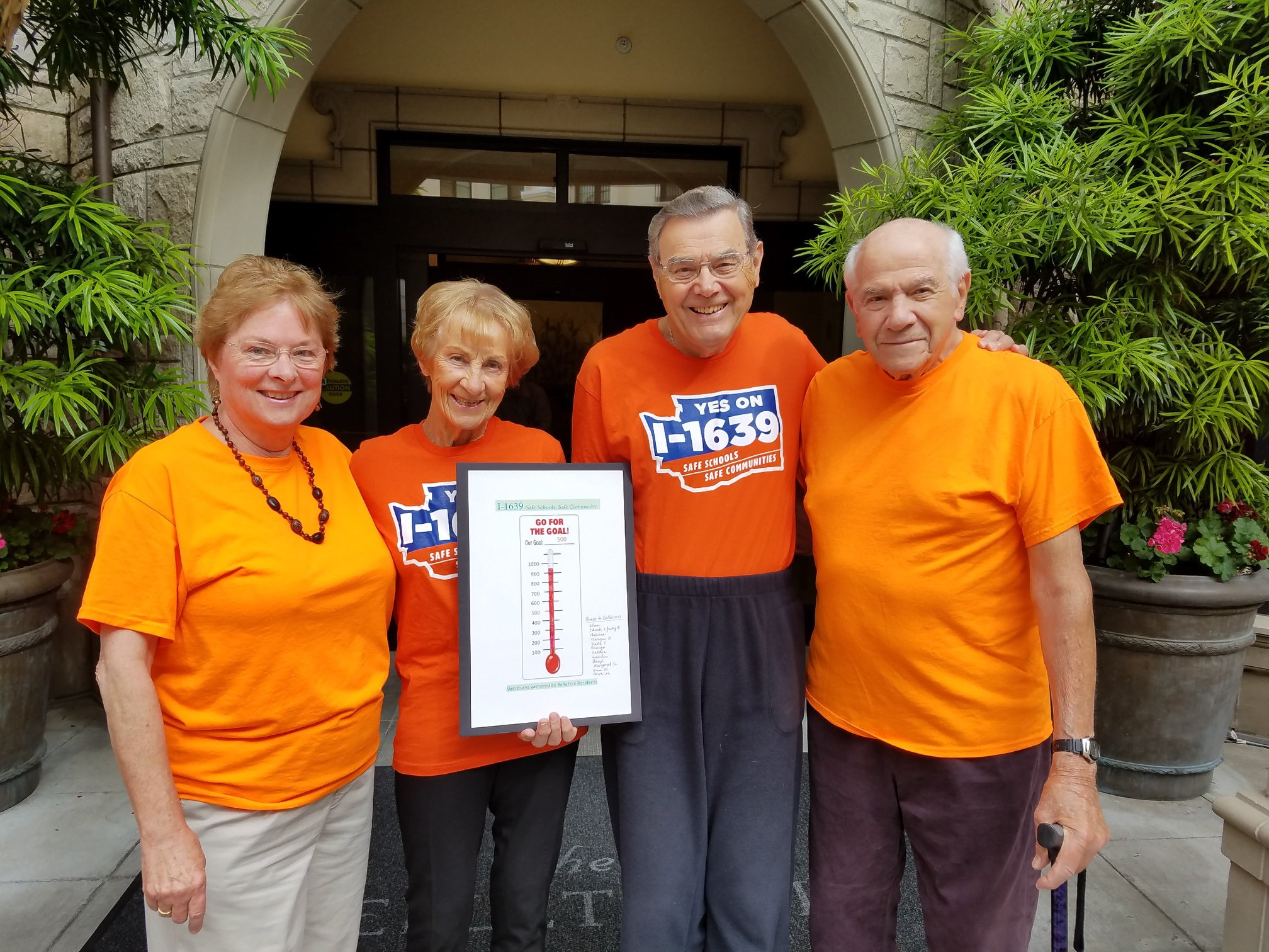 Hats off to Grandparents Against Gun Violence at  The Bellettini  Bellevue Retirement Community for their stellar signature gathering to put Gun Sense Initiative 1639 on the ballot. Their goal was to collect 500 signatures and they more than doubled that. Wow! Thank you for your active citizenship