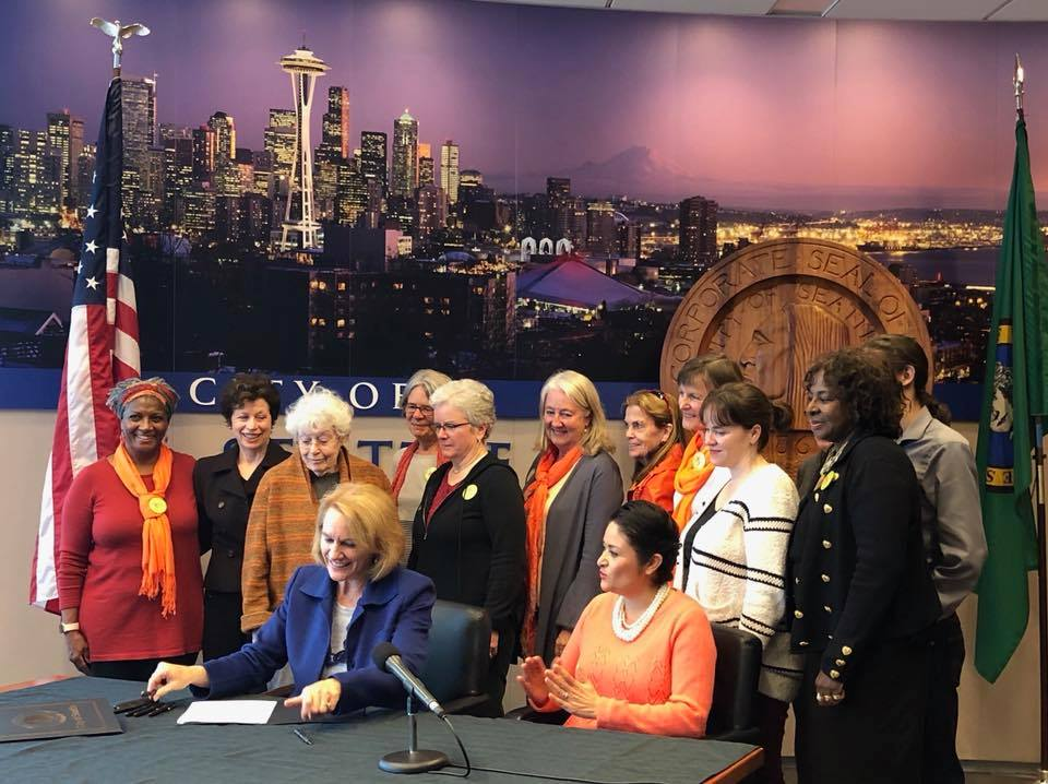 Grandmothers in attendance while  Mayor Jenny Durkan  signs City of Seattle support for I-1639, Safer Schools Safer Communities, sponsored by Council Member Lorena Gonzalez.